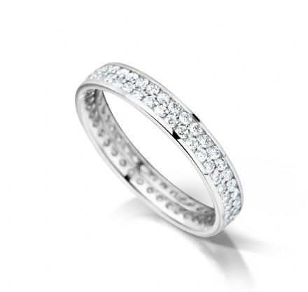 Grain set double row court eternity/wedding ring, Platinum. 3mm x 1.7mm. full coverage